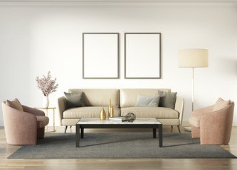 Contemporary chic interior with a dark beige sofa and salmon red armchairs