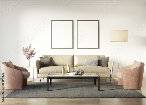 Współczesne eleganckie wnętrze z ciemnobeżową sofą i czerwonymi fotelami