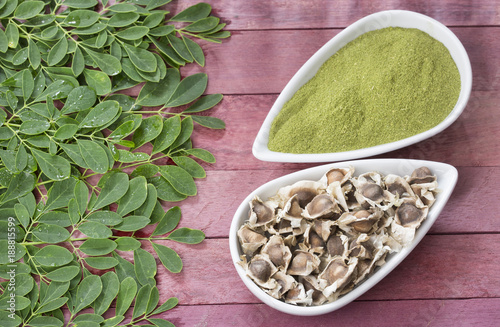 Foto Murales Fresh leaves, powder and moringa seeds - Moringa oleifera
