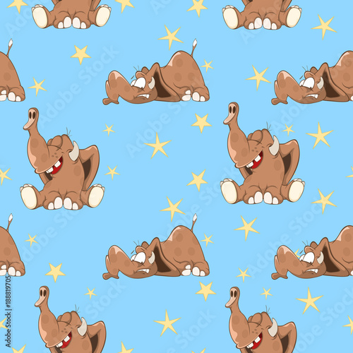 Fotobehang Babykamer Background with Cute Elephants. Seamless Pattern