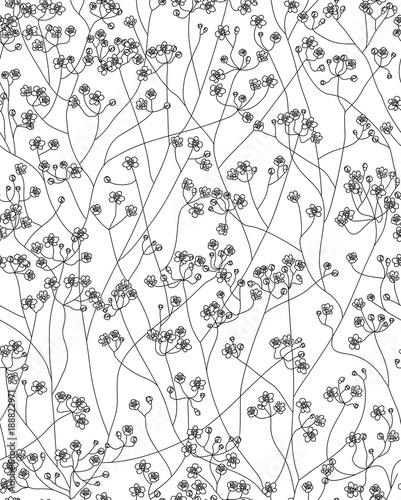 Vector seamless cute floral pattern ,floral  black silhouette isolated. - 188822971