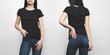 front and back view of young woman in blank black t-shirt isolated on white