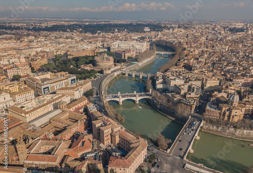Papiers peints Rome Cityscape of Rome, aerial view. Saint Angelo castle, bridges and Tiber river