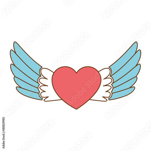 Staande foto Graffiti heart with wings flying vector illustration design