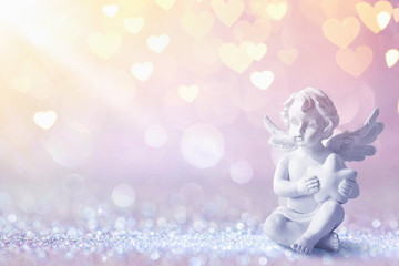 Greeting Card With Cupid On Shiny Background