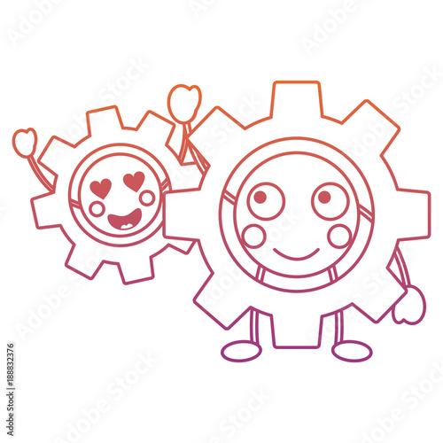 kawaii gears motion and mechanics cartoon vector illustration blur line gradient design
