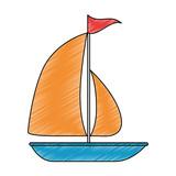 sailboat summer isolated icon vector illustration design - 188834713