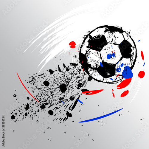 Fotobehang Abstract met Penseelstreken soccer / football, design template, free copy space, with soccer ball