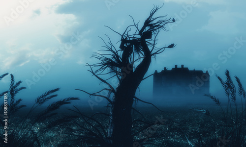 scary-achedoned-haunted-house-creepy-dead-trees-night