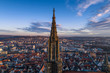 Leinwanddruck Bild - Aerial shot taken with a drone of Ulm Minster at sunrise