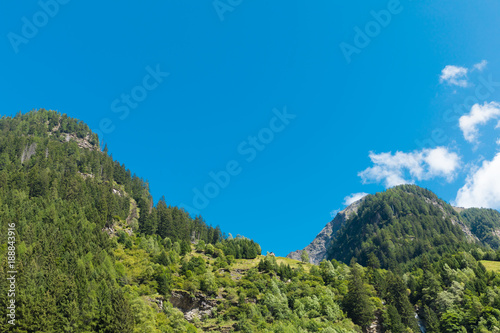 Foto op Aluminium Blauw Landscape, forest and blue sky in Switzerland