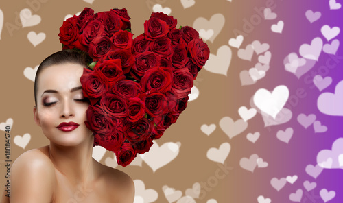 Beautiful model woman rose flower in hair heart shape beauty salon makeup Young modern girl luxurious Lady make up red lipstick lips Products Treatment concept  love flirt Valentine's Day