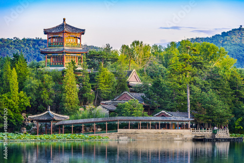 Foto op Plexiglas Peking Jinshan Tower (Little Golden Mountain). Located in Chengde Mountain Resort. It is a large complex of imperial palaces and gardens situated in the city of Chengde in Hebei, China.