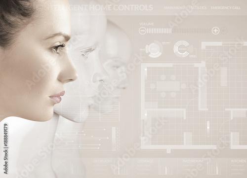 Foto op Canvas Artist KB Woman and robots - artificial intelligence