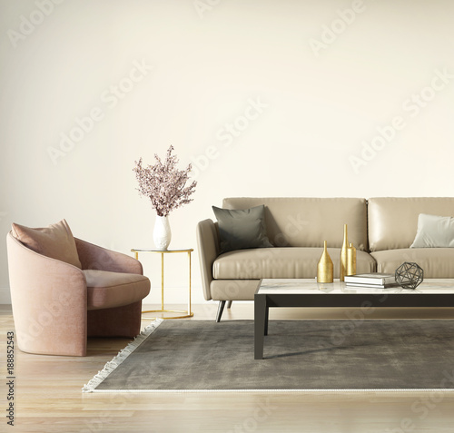 Współczesne eleganckie wnętrze z ciemnobeżową sofą i fotelami w kolorze łososiowym z bliska