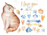 Watercolor cute isolated cat ilustration. Love cartoon cats character for valentine's card. Nursary art design. - 188857936