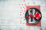 Festive table setting for Valentines Day on wooden background - 188861994