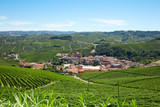 Barolo medieval town surrounded by vineyards, Langhe hills in Italy