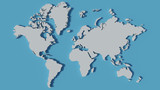 3d world map blue