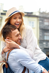 Happy Couple In Love Having Fun On Street