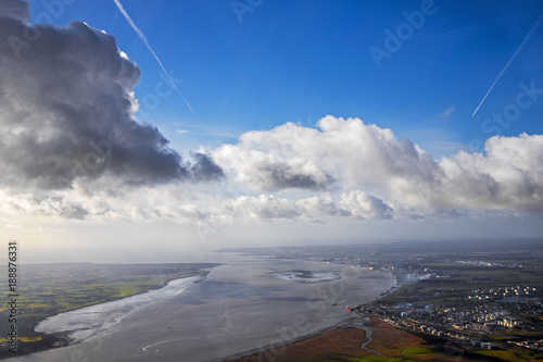 salt marsh and river aerial view - 188876331