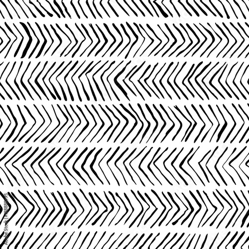 Vector black white herringbone seamless pattern. Watercolor, ink background. Scandinavian design, fashion textile print - 188880995