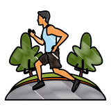 Man running at park icon vector illustration graphic design - 188886164