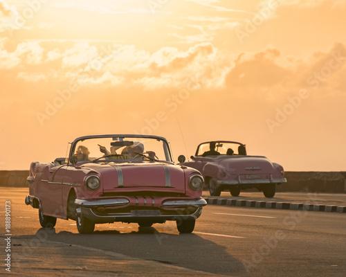 Foto op Canvas Havana Vintage Cars are a symbol of Old Havana, Cuba