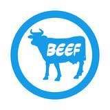 Icono plano BEEF en vaca en circulo color azul