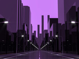 Violet city 3d rendering image.Street View in city with street lights ,Graphic style image monochrome with violet tone - 188909327
