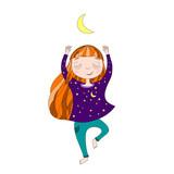 Cute  little girl exercising yoga under the moon