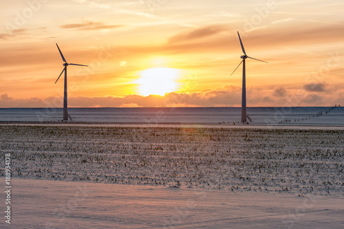Papiers peints Cappuccino Sunset over Dutch winter landscape with wind turbines and farmland covered with snow