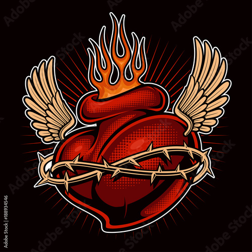Tattoo chicano heart with flames (color version)