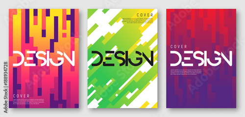 Abstract gradient geometric cover designs, brochure templates, posters. Vector illustration. Global swatches - 188934728