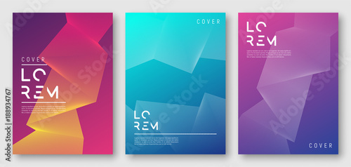 Abstract gradient geometric cover designs, trendy brochure templates, colorful futuristic posters. Vector illustration. Global swatches. - 188934767