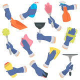 Set of hands in a glove with different tools for cleaning color flat icons set - 188935346