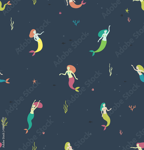 Cotton fabric Seamless pattern with mermaids on a dark blue background