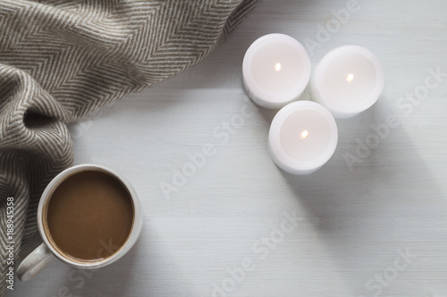 Fotobehang Chocolade Cozy hot chocolate and candles
