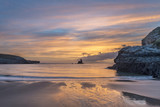 Beautiful sunrise landsdcape of idyllic Broadhaven Bay beach on Pembrokeshire Coast in Wales - 188948321