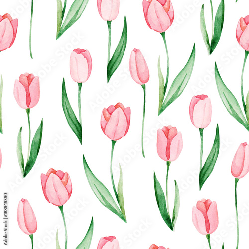 Watercolor tulips pattern. International women's day. For design, card, print or background - 188949390