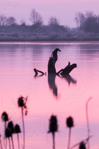 Foto op Aluminium Lichtroze Sunrise on the Saône