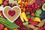 Health food for heart fitness with seeds, vegetables, fruit, nuts, herbs and spice. Superfood concept high in omega 3 fatty acid, anthocyanins, fibre, antioxidants, minerals and vitamins. - 188959165