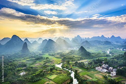 Aluminium Guilin Landscape of Guilin, Li River and Karst mountains. Located near Yangshuo, Guilin, Guangxi, China.