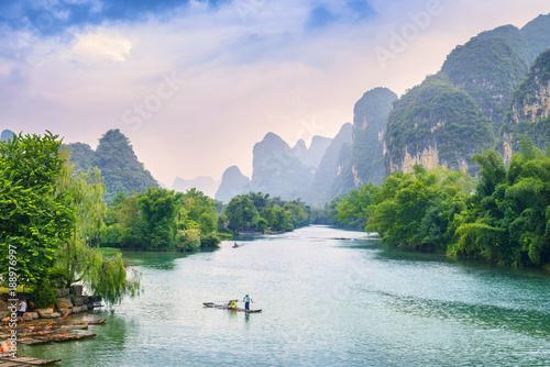 Aluminium Guilin Landscape of Guilin, Li River and Karst mountains. Located in Yangshuo, Guilin, Guangxi, China.