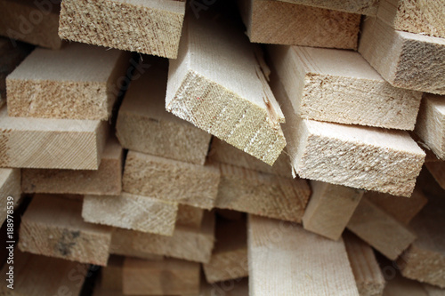 Deurstickers Brandhout textuur lumber wood at production at the factory