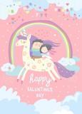 Couple in love riding on unicorn