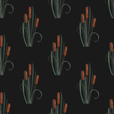 Seamless Pattern with reed on black. - 188983980