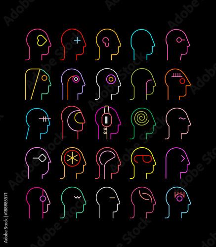 Fotobehang Abstractie Art Human Head neon silhouettes