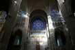 Paris,France-January 19,2018: Stained glass of Basilique Saint-Denis, a Gothic architecture and an architectural landmark in Paris.