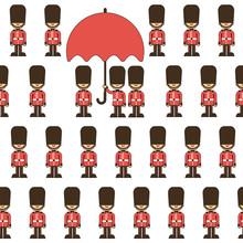 Cartoon London Pattern  Queen Guard Sticker